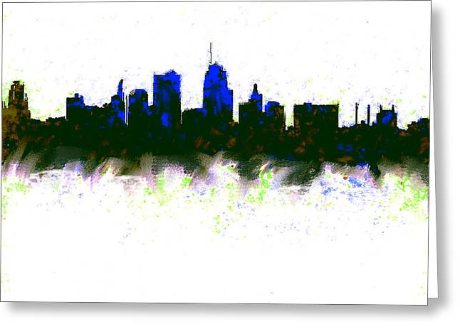 Kansas City Skyline Blue  Greeting Card by Enki Art