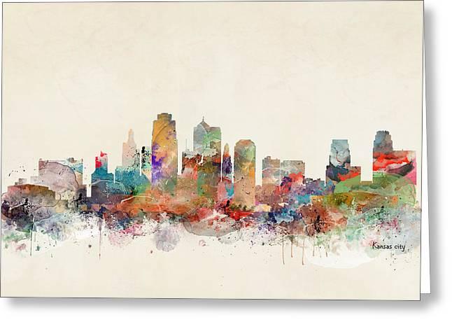 Kansas City Skyline Greeting Card by Bri B