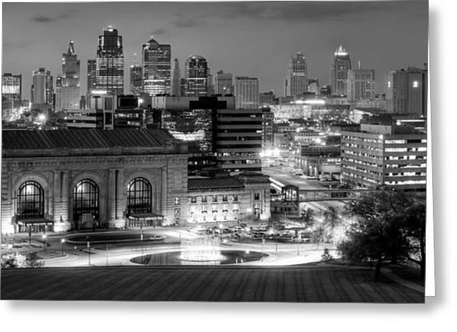 Kansas City Skyline Bw Greeting Card