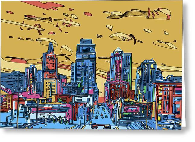 Kansas City Skyline Panorama 3 Greeting Card