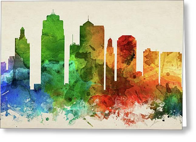 Kansas City Skyline Panorama Usmokc-pa03 Greeting Card