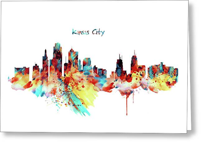 Kansas City Skyline Silhouette Greeting Card by Marian Voicu