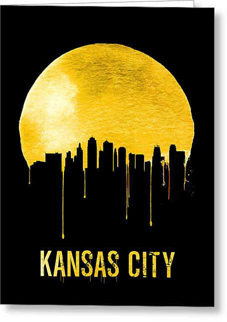 Kansas City Skyline Yellow Greeting Card by Naxart Studio