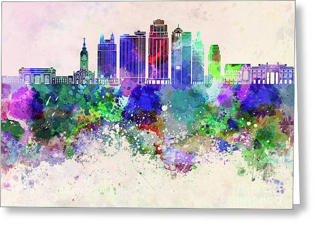 Kansas City V2 Skyline In Watercolor Background Greeting Card by Pablo Romero