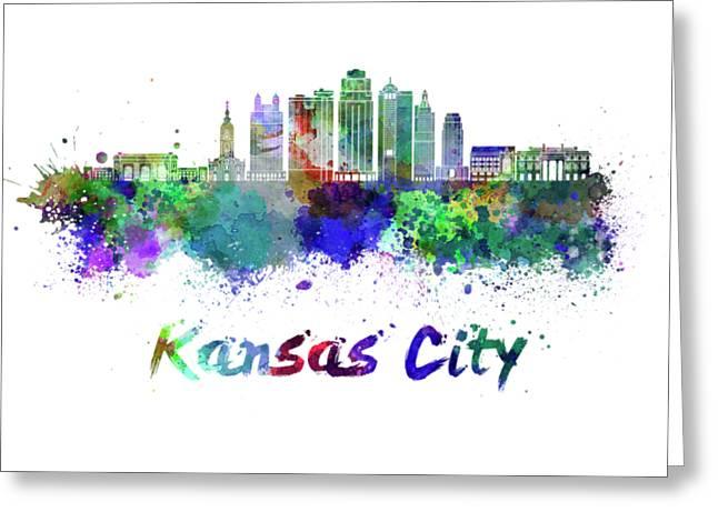 Kansas City V2  Skyline In Watercolor Greeting Card by Pablo Romero
