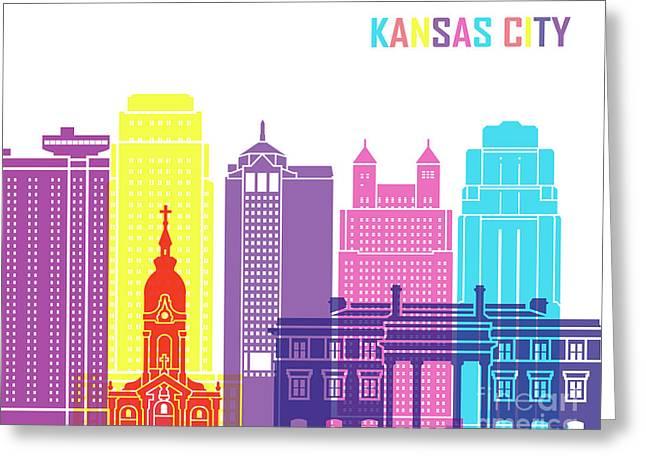 Kansas City_v2 Skyline Pop Greeting Card by Pablo Romero