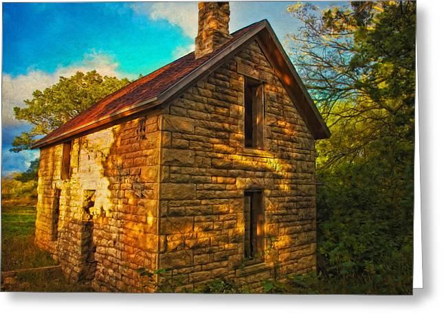 Kansas Countryside Stone House Greeting Card