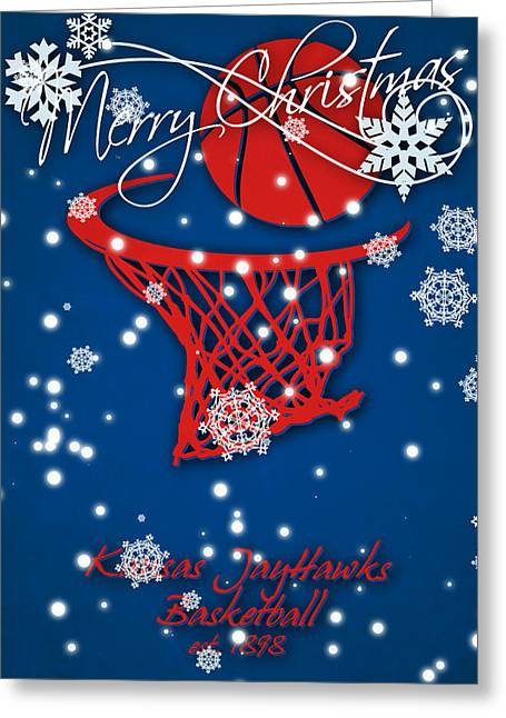 Kansas Jayhawks Christmas Card 2 Greeting Card by Joe Hamilton