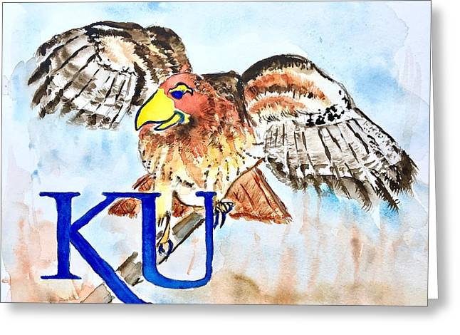 Kansas Jayhawks Greeting Card by Elaine Duras