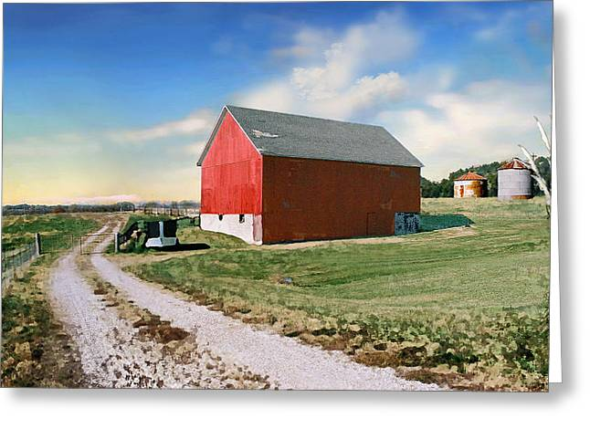 Barns Greeting Cards - Kansas landscape II Greeting Card by Steve Karol