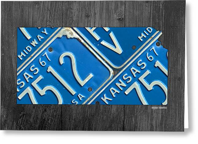 Kansas License Plate Map State Art Midway Usa Greeting Card by Design Turnpike