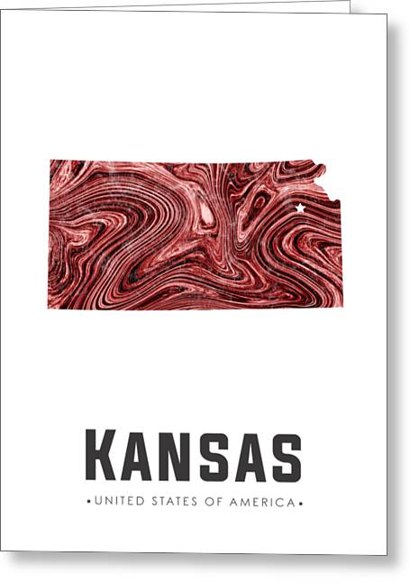 Kansas Map Art Abstract In Deep Red Greeting Card