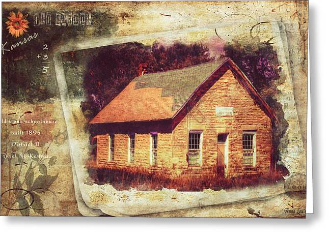 Kansas Old Stone Schoolhouse Greeting Card