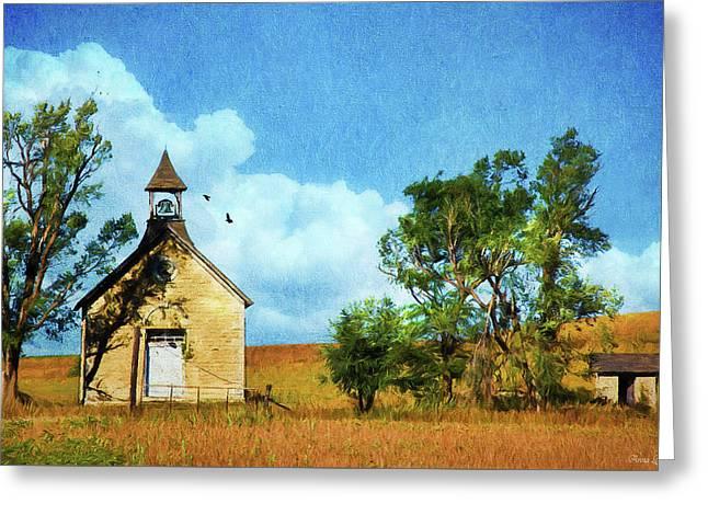 Kansas Prairie Schoolhouse Greeting Card by Anna Louise