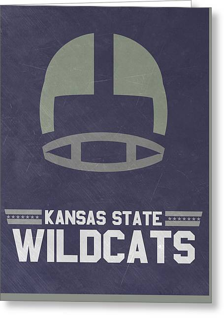 Kansas State Wildcats Vintage Football Art Greeting Card by Joe Hamilton