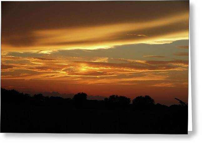 Kansas Summer Sunset Greeting Card by Rebecca Overton