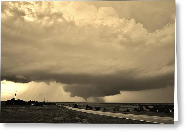 Greeting Card featuring the photograph Kansas Twister - Sepia by Ed Sweeney