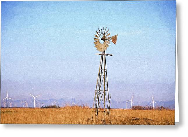 Greeting Card featuring the digital art Kansas Windmills by JC Findley