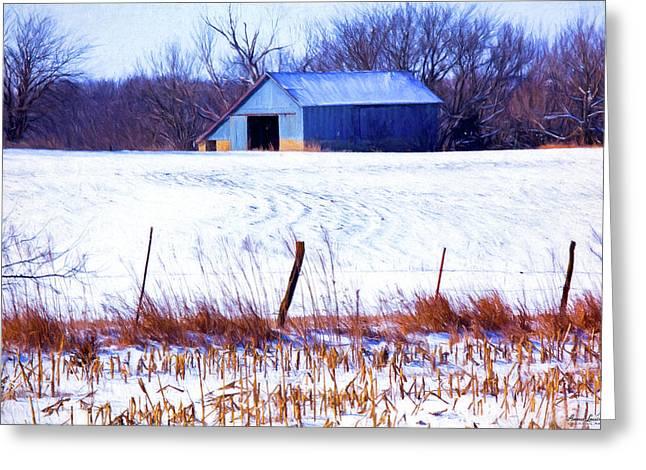 Kansas Winter Field Barn 1 Greeting Card