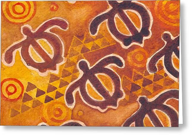 Kapa Honu Petroglyphs Greeting Card by Cynthia Conklin