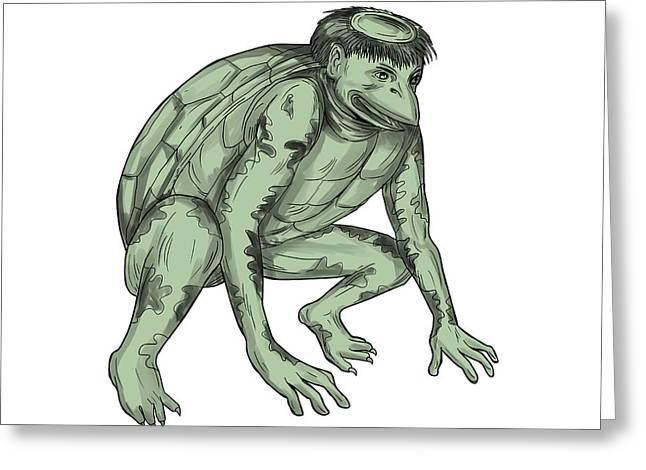 Kappa Monster Crouching Tattoo Greeting Card