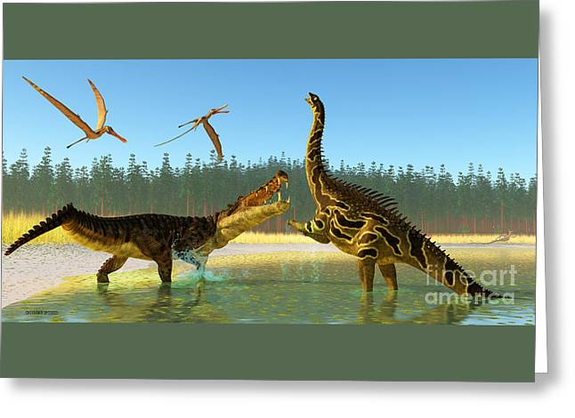 Kaprosuchus Swamp Greeting Card by Corey Ford