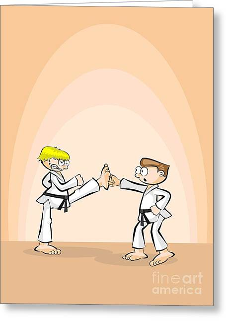 Karate Fighter Stops His Opponent's Fist With One Foot Greeting Card