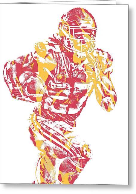 Kareem Hunt Kansas City Chiefs Pixel Art 10 Greeting Card