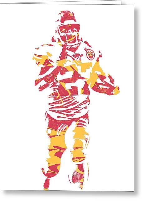 Kareem Hunt Kansas City Chiefs Pixel Art 3 Greeting Card