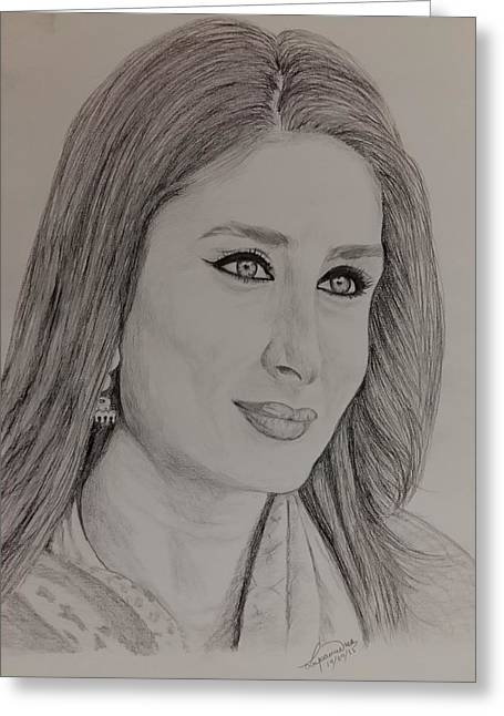 Kareena Kapoor Khan Greeting Card by Lupamudra Dutta