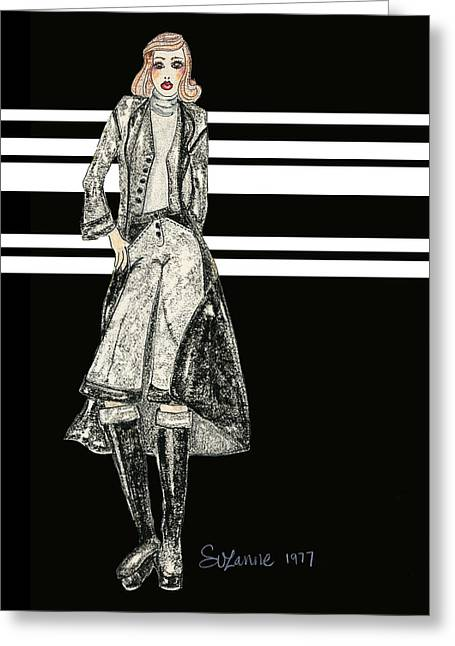 Black Boots Mixed Media Greeting Cards - Karen Greeting Card by Suzanne Blender