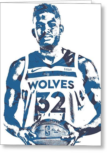 Karl Anthony Towns Minnesota Timberwolves Pixel Art 15 Greeting Card