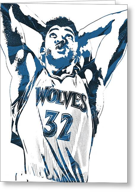 Karl Anthony Towns Minnesota Timberwolves Pixel Art Greeting Card by Joe Hamilton