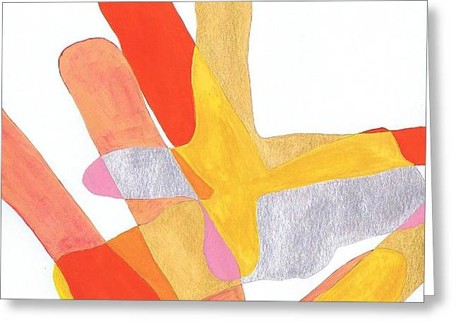 Greeting Card featuring the painting Karlheinz Stockhausen Tribute Falling Shapes by Dick Sauer