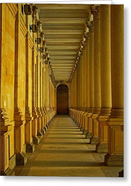 Karlovy Vary Colonnade Greeting Card by Juergen Weiss
