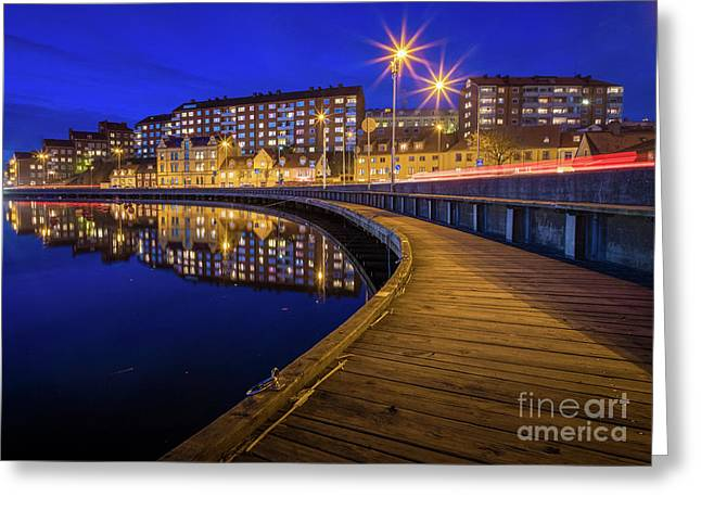 Karlskrona By Night Greeting Card by Inge Johnsson