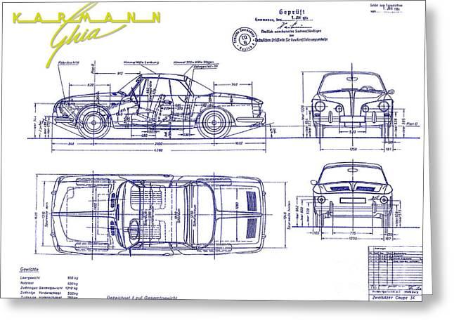 Karmann Ghia Blueprint Greeting Card