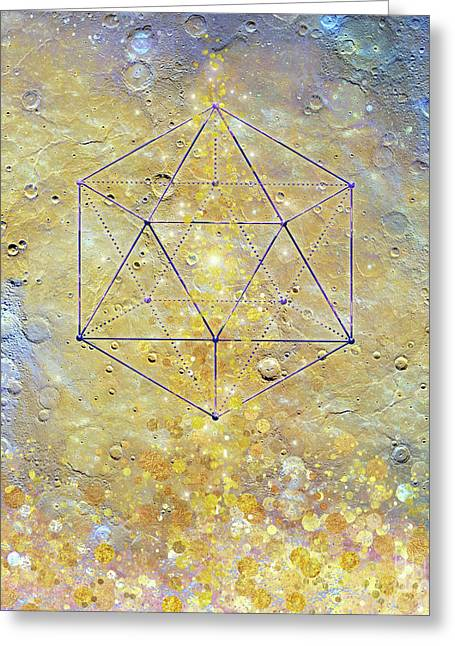 Karmic Evolution, Dreams, Fantasy, Moon, Space, Geometry Greeting Card by Tina Lavoie
