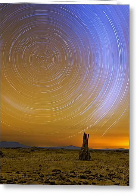 Karoo Desert Star Trails Greeting Card by Basie Van Zyl