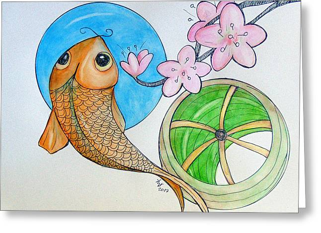 Karp And Cherry Blooms Greeting Card