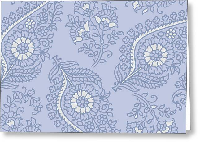 Kasbah Blue Paisley II Greeting Card by Mindy Sommers