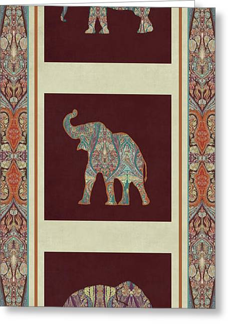 Kashmir Elephants - Vintage Style Patterned Tribal Boho Chic Art Greeting Card