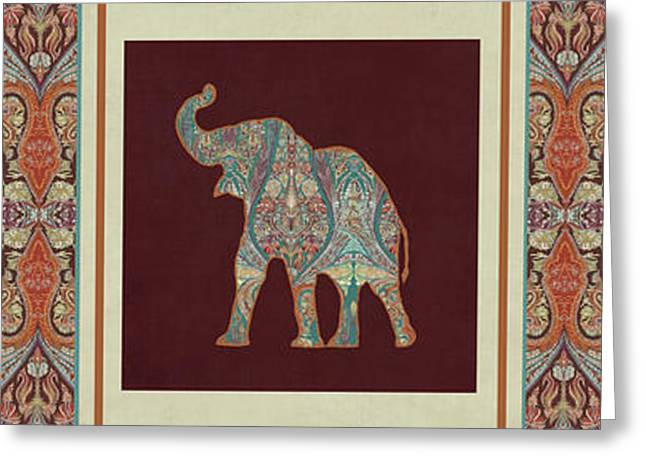 Greeting Card featuring the painting Kashmir Elephants - Vintage Style Patterned Tribal Boho Chic Art by Audrey Jeanne Roberts