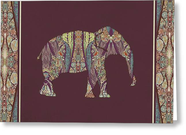 Greeting Card featuring the painting Kashmir Patterned Elephant 2 - Boho Tribal Home Decor  by Audrey Jeanne Roberts