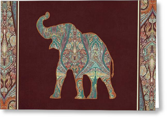 Greeting Card featuring the painting Kashmir Patterned Elephant 3 - Boho Tribal Home Decor by Audrey Jeanne Roberts