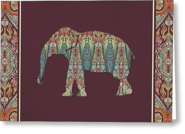 Greeting Card featuring the painting Kashmir Patterned Elephant - Boho Tribal Home Decor  by Audrey Jeanne Roberts