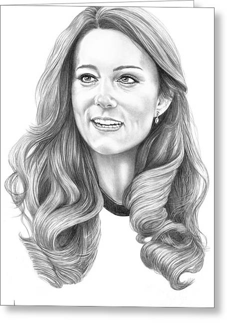 Kate Middleton Catherine Duchess Of Cambridge Greeting Card by Murphy Elliott