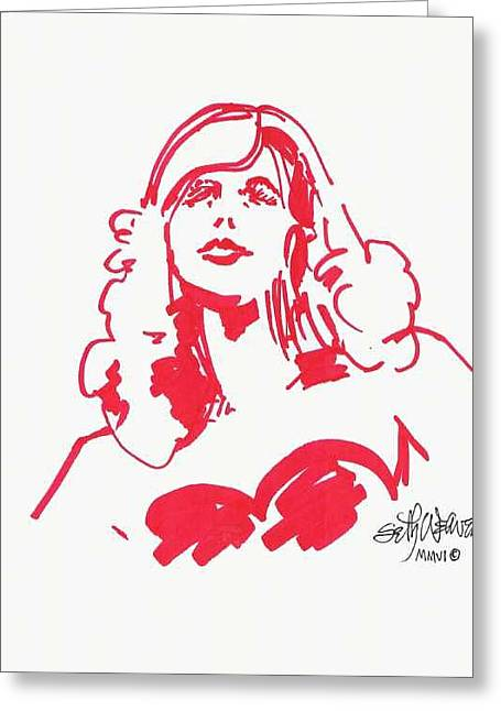 Greeting Card featuring the drawing Kate Moss by Seth Weaver