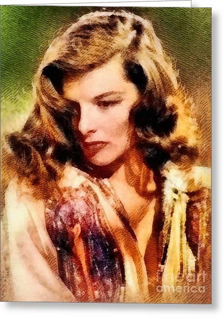 Katharine Hepburn, Hollywood Legend By John Springfield Greeting Card