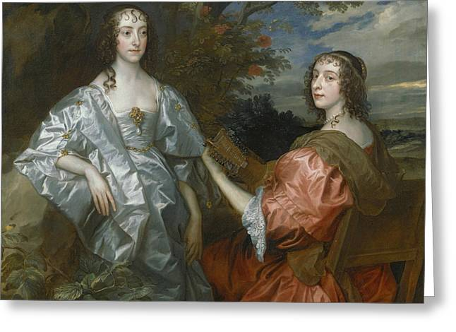 Katherine, Countess Of Chesterfield, And Lucy, Countess Of Huntingdon Greeting Card by Anthony Van Dyck